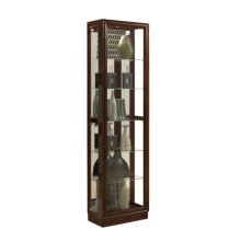 Tall Traditional 5 Shelf Curio Cabinet in Cherry Brown