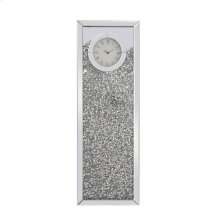 12 inch Rectangle Crystal Wall Clock Silver Royal Cut Crystal