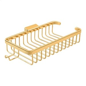"""Wire Basket, 10-3/8"""" Rectangular, Shallow, With Hook - PVD Polished Brass Product Image"""