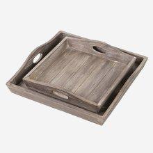 Sammie Wooden Tray Set (Set of 2) - Brown Wash