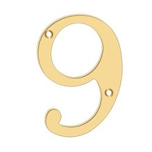 """6"""" Numbers, Solid Brass - PVD Polished Brass"""