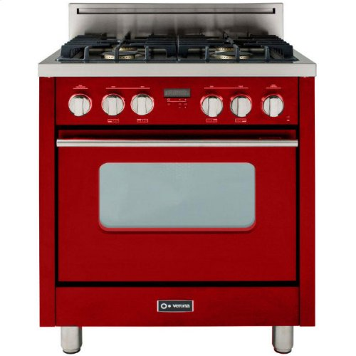 """High Gloss Red 30"""" Gas Range with Convection Oven"""