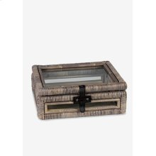 Decorative glass document Box with rattan frame accents set-2 - Natural grey (16x10x16.5/11...
