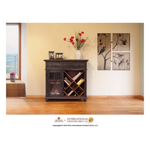 Wine Rack, 2 drawers, glass holder behind door, Black finish