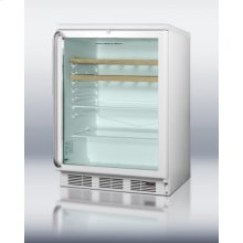 Commercial Built-in Glass Door Beverage Center for Red Wine and Ale, W/digital Thermostat, White Cabinet, Full-length Handle, Glass and Wood Shelves, and Lock