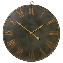 Distressed Black with Gold Roman Numeral Wall Clock