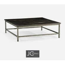 Dark Ale Square Coffee Table with Iron Base