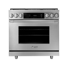 "36"" Heritage Dual Fuel Pro Range, Silver Stainless Steel, Natural Gas"