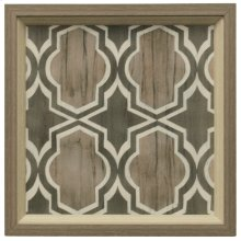 Driftwood Geometry V  Made in USA  2 Step Dimensional Faux Wood Frame  Textured Print  Hanging H