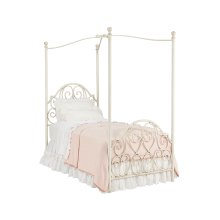 Antique White Garden Gate Canopy Twin Bed