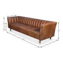 Transitional Design Leather Sofa, Brown
