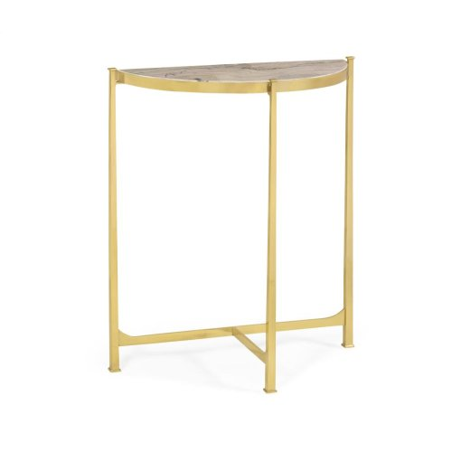 Blanco Equador marble & polished solid grass demilune console (Small)