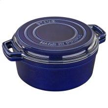 Staub Cast Iron 11-inch round Braise + Grill, Dark Blue