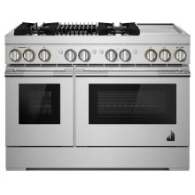 """RISE 48"""" Dual-Fuel Professional Range with Chrome-Infused Griddle and Gas Grill, RISE"""
