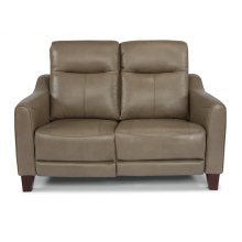 Forte Leather Power Reclining Loveseat with Power Headrests