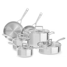 Tri-Ply Stainless Steel 10-Piece Set - Stainless Steel Finish