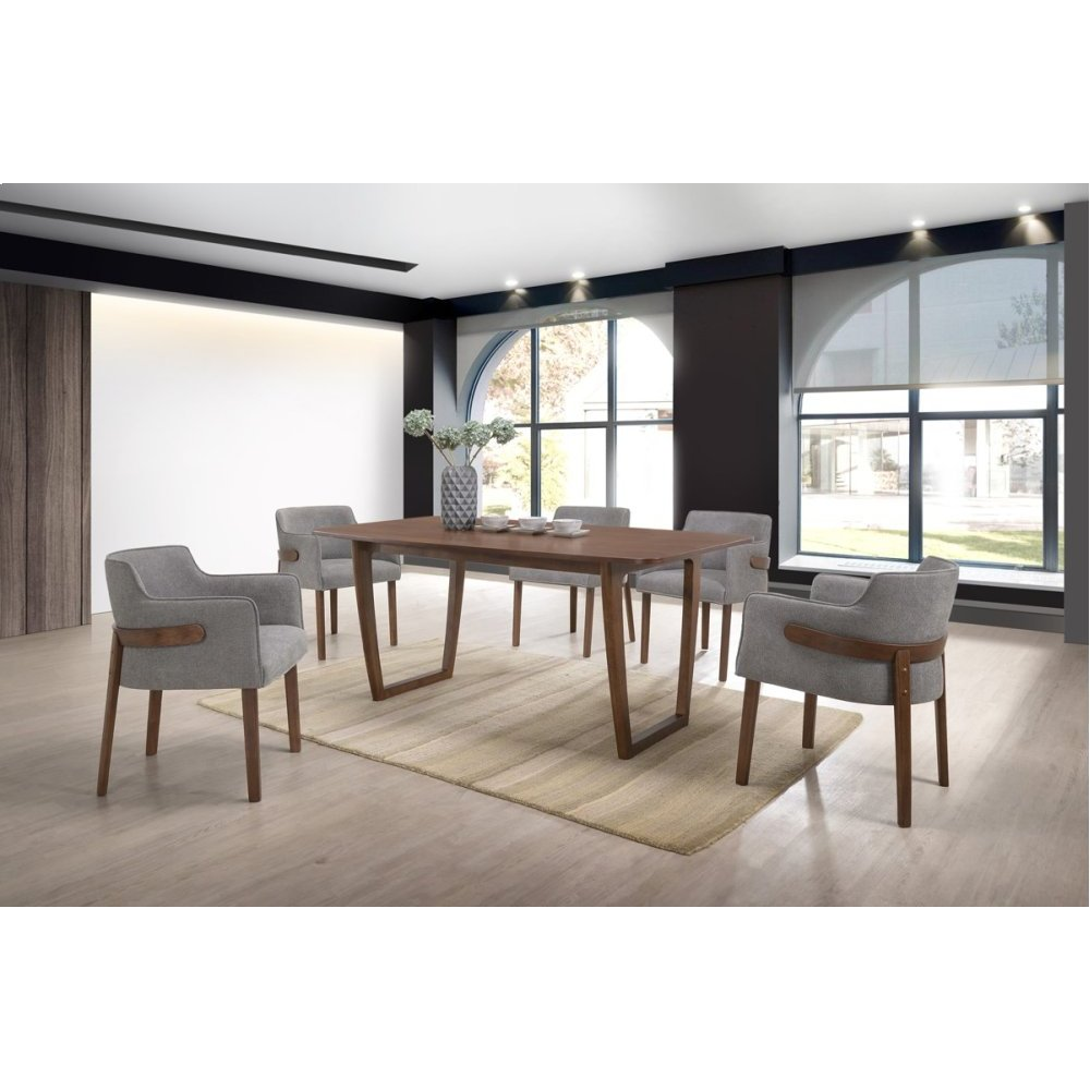 Modrest Jordan Modern Walnut & Grey Dining Set