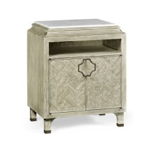 Greyed Oak Nightstand with Marble Top