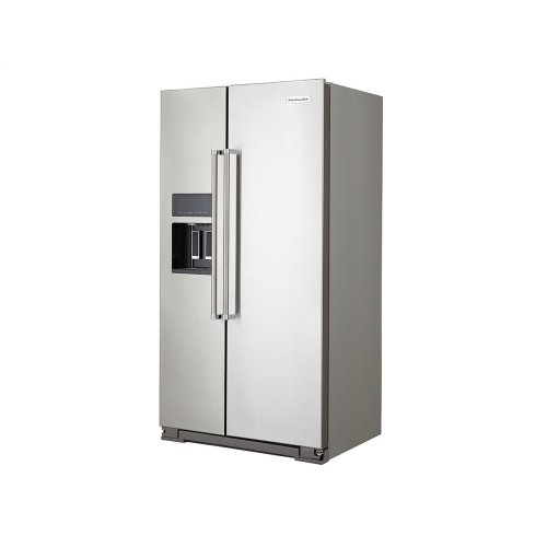 19.9 cu ft. Counter-Depth Side-by-Side Refrigerator with Exterior Ice and Water and PrintShield finish - Stainless Steel with PrintShield™ Finish