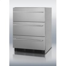 ADA compliant three-drawer refrigerator in stainless steel for built-in or freestanding use, with thin towel bar handles