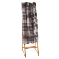 Light Grey & Red Plaid Knit Throw Product Image