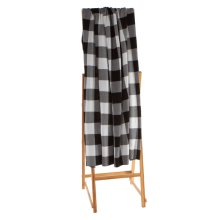 Black & White Buffalo Plaid Knit Throw