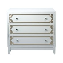 White Drawer Chest with Metallic Geometric Overlay