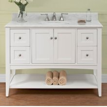 "Shaker Americana 48"" Open Shelf Vanity - Polar White"