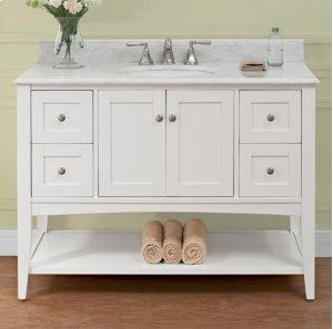 "Shaker Americana 48"" Open Shelf Vanity - Polar White Product Image"