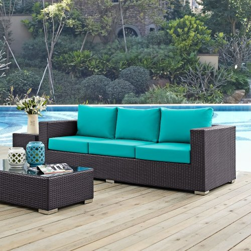 Convene Outdoor Patio Sofa in Espresso Turquoise