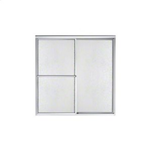 "Deluxe Sliding Bath Door - Height 55-1/4"", Max. Opening 56-1/4"" - Silver with Rain Glass Texture Product Image"