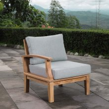 Marina Outdoor Patio Teak Left-Facing Sofa in Natural Gray