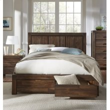 Meadow Queen Storage Bed with Brick Brown Finish