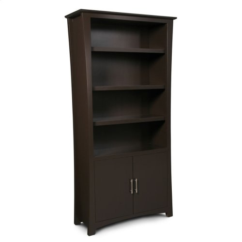Loft Bookcase, Wood Doors on Bottom, Loft Bookcase, Wood Doors on Bottom, 3-Adjustable Shelves