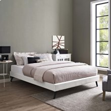 Loryn Full Vinyl Bed Frame with Round Splayed Legs in White