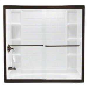 """Finesse™ Frameless Sliding Bath Door - Height 58-1/16"""", Max. Opening 59-5/8"""" - Deep Bronze with Smooth Clear Glass Texture Product Image"""