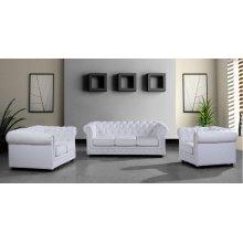 Divani Casa Paris 3 Modern White Half Leather Sofa Set