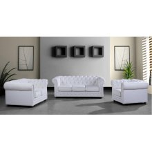 Divani Casa Paris 3 Modern White Half Leather Sofa Set