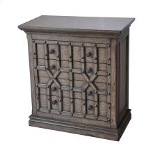 Sedgwick Overlaid Geometric 4 Drawer Chest in Antique Natural Walnut Finish