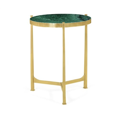 Polished solid brass lamp table with Green Napoly marble top (Medium)