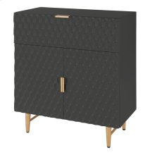Reggie KD Geometric Small Cabinet 1 Drawer + 2 Doors Gold Legs, Glossy Black