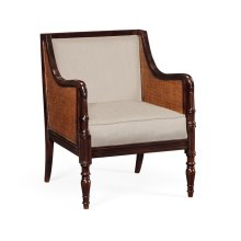 Bergere Brown Rattan Matte Sides and Back Occasional Chair, Upholstered in MAZO