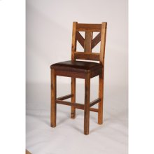 Windy Stables - Bar Stool With Leather Seat, 24 and 30 Inch