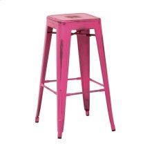 "Bristow 30"" Antique Metal Barstool, Antique Pink Finish, 2-pack"