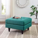 Empress Upholstered Fabric Ottoman in Teal Product Image