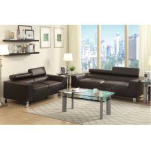 Espresso Modern Sofa and Love Seat with Chrome Legs