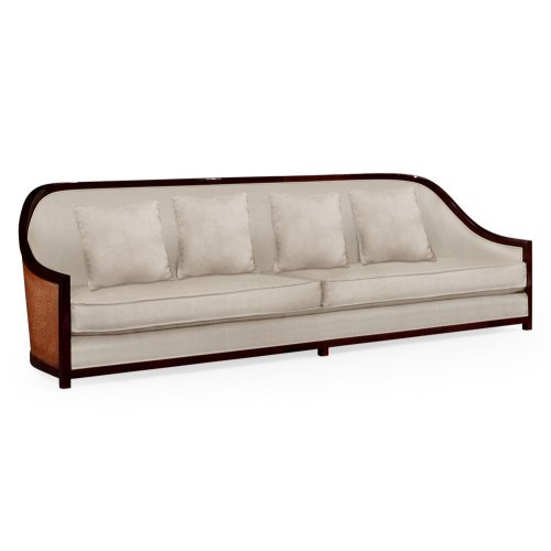 "110"" Sofa in Sonokelling & Rattan, Upholstered in MAZO"