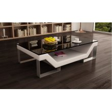 Divani Casa EV31 Modern White Bonded Leather Coffee Table w/ Glass Top