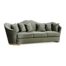 Cabriole Rivoli Walnut Sofa, Upholstered in Richmond
