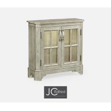 Rustic Grey Low Bookcase with Strap Handles